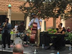 Performing with trumpeter, Corey Wilkes' Quartet, (Junius Paul-Bass, Greg Artry-Drums) Chicago's Hyde Park Jazz in the Courtyard, July 2015 (Photo credit: Jane Averill)