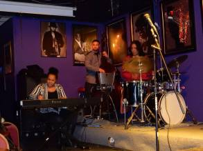 With the RBG Trio, Detroit. with drummer, Gayelynn McKinney and bassist, Ibrahim Jones. Feb. 2016