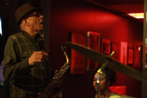 At Bert's Warehouse in Detroit with legendary saxophonist, Larry Smith. April 2016 (Photo credit: Mark L. Brown)