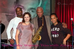With the Bobby Watson Trio at the Jazz Showcase in Chicago, IL. Left to right: Greg Artry, Marlene Rosenberg, Bobby Watson, Alexis Lombre
