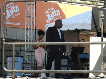 Taking the stage with trumpeter, John Douglas, at the 2016 Detroit Jazz Festival. (Photo credit: Traci Lombre)