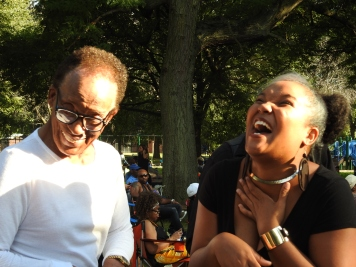 Having a laugh with the legendary jazz guitarist, Mr. George Freeman at the 2016 Englewood Jazz Festival in Chicago. (Photo credit: Traci Lombre)